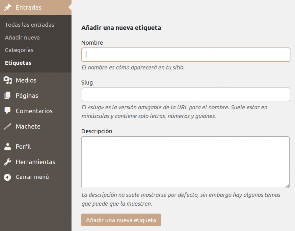 etiquetas en WordPress
