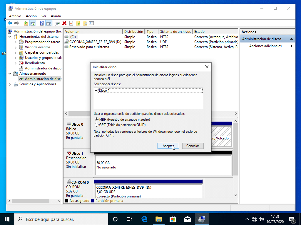 Inicializar disco en Windows